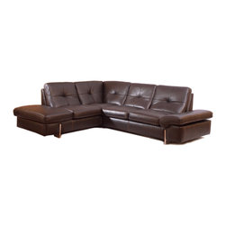 Nicoletti - 945 Modern Brown Italian Leather Sectional Sofa by:Nicolleti, Right Facing Chais - Modern Style Sectional Sofa