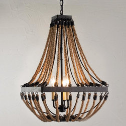 Nautical Rope and Bronze Square Chandelier -