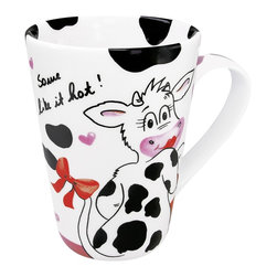 """Konitz - Set of 4 Mugs Mrs. Latte Mac Chiato - The Mrs. Latte Mac Chiato Mug features a girly cow wearing lipstick and a red bow. Black-and-white cowhide print reads """"Some like it hot!""""."""