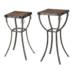 Uttermost - Hewson Plant Stands Set of 2 - Old world, rustic metal pedestals with rivet and ring details and deep grained, natural wooden tops.