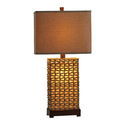 Lamps Plus - Tunis Woven Wicker Table Lamp - Give your living room a warm feel with this beautifully woven table lamp. Woven wicker surrounds the sturdy structure, giving it a unique modern look. With its Tunis finish, this lamp gives off a warm glow. The lamp is also equipped with a night light base, perfect for lighting up those dark rooms.