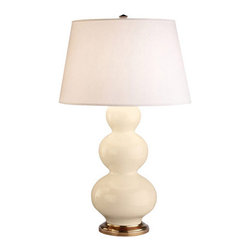 Robert Abbey - Robert Abbey Large Triple Gourd Table Lamp with Brass Base 324X - Bone Glazed Ceramic