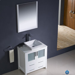 "Fresca - Fresca Torino 30"" Modern Single Vessel Sink Bathroom Vanity Set - Fresca is pleased to usher in a new age of customization with the introduction of its Torino line. The frosted glass panels of the doors balance out the sleek and modern lines of Torino, making it fit perfectly in either 'Town' or 'Country' decor. Available in the rich finishes of Espresso, Glossy White, Light Oak and Walnut Brown, all of the vanities in the Torino line come with either a ceramic vessel bowl or the option of a sleek modern ceramic integrated sink."