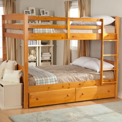 Woodcrest - Ethan Full over Full Bunk Bed - WCM127 - Shop for Bunk Beds from Hayneedle.com! With classic style and the benefits of solid wood construction the Ethan Full-over-Full Bunk Bed will have a use in your home for years and years. This spacious bunk bed is crafted from solid pine and features a natural-colored pine finish covered in a protective lacquer sealant that gives it a soothing glow. It's full of options and versatility. First you can order the bunk bed only if you're just looking for some standard good-looking sleeping arrangements. Or you can make the most of your space by adding the optional under-bed drawers or trundle bed. The drawers are great for extra clothing and toy storage while the trundle is ideal for sleepovers. The trundle accommodates a standard twin mattress. Trundle dimensions: 75L x 41W x 11H. The top bunk features safety rails on all sides and a sturdy ladder for climbing into bed each night. Slat packs are included and metal-to-metal rail connections will make assembly easy. Keep in mind that this bunk bed is also designed to be separated into two full-size beds when the time is right. The distance between the bunks is 36 inches. Please note: Bunk beds and loft beds are only to be used by children 6 years of age or older.