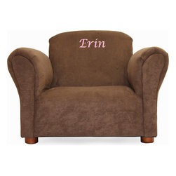 """Fantasy Furniture - Little-Furniture Personalized Kid's Microsuede Mini Chair - The personalized microsuede chair is a lovely little piece of furniture, which will enhance the beauty of any room. It has a strong wood frame that will add durability, it is padded using high density flame retardant foam for added comfort and upholstered with microsuede fabric for durability. Comes fully assembled. Weekly vacuuming is recommended for all fabric components to reduce soil buildup. Features: -Chair with your child's name embroidered.-2"""" - 2.75"""" lettering height.-Microsuede fabric upholstered.-Comes fully assembled.-Wood frame construction.-Product Type: Chair.-Collection: Personalized Original Chair.-Distressed: No.-Powder Coated Finish: No.-Gloss Finish: No.-Frame Material: Pine wood and OSB.-Hardware Material: Metal wire staples.-Solid Wood Construction: No.-Number of Items Included: 1.-Non-Toxic: Yes.-UV Resistant: No.-Fire Resistant: Yes.-Scratch Resistant: No.-Stain Resistant: Yes.-Rust Resistant: No.-Mildew Resistant: No.-Rot Resistant: No.-Insect Resistant: No.-Arms Included: Yes.-Upholstered Seat: Yes -Seat Upholstery Material: Microsuede.-Removable Seat Cushions: No.-Seat Cushion Fill Material: Polyurethane foam.-Removable Seat Cushion Cover: No.-Tufted Seat Upholstery: No.-Welt on Seat Cushions: No..-Upholstered Back: Yes -Back Upholstery Material: Microsuede.-Removable Back Cushions: No.-Back Cushion Fill Material: Polyurethane foam.-Removable Back Cushion Cover: No.-Tufted Back Upholstery: No.-Welt on Back Cushions: No..-Nailhead Trim: No.-Rocker: No.-Swivel: No.-Glider: No.-Reclining: No.-Footrest Included: No.-Stackable: No.-Foldable: No.-Inflatable: No.-Legs Included: Yes -Leg Material: Solid wood.-Protective Floor Glides: Yes..-Casters: No.-Storage Area: No.-Cupholder: No.-Skirted: No.-Ottoman Included: No.-Adjustable Height: No.-Ergonomic Design: No.-Age Recommendation: 18 months to 5 years.-Outdoor Use: No.-Seating Capacity: 1.-Weight Capacity: 75 lbs.-Sw"""