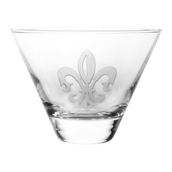 Rolf Glass - Grand Fleur De Lis Martini, Clear, Tumbler, Set of 4 - A single Fleur De Lis is  carefully sand-etched on brilliant clear lead free crystal glassware.   Made in USA.