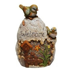 Alpine Corporation - Welcome Sign Rock with Bird Garden Statue - Add a fun look to your landscape with these delightful garden statuaries. You can group them in your walkway, garden and pond or use individually around your deck or patio. These unique figures are made with the precision of fine detailed craftsmanship to make a one of a kind product