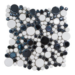 "GL Stone - Bubble Mix Color Circle Mosaic tile, Black and White - This circles mosaic tile is random round pieces on 12.0"" X 12.0"" mesh tile sheet. The circle mosaic comes with polished white and black color. The bubble shaped mosaic is a great way to enhance the decor of interior project, such as bathroom floor,shower surround, kitchen floor, shower space, dining room, balcony floor,etc."