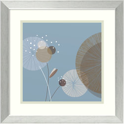Amanti Art - Christina Mitchell 'Blue Breeze II' Framed Art Print 17 x 17-inch - Blue Breeze II is a playful floral abstract of bold shape and cool colors realized by artist Christina Mitchell.