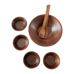 """Pre-owned Mid-Century Wooden Bowl Set - This stunning Mid-Century bowl set is straight out of 1960! Dark wood bowls with a parquet pattern, a large serving bowl and 4 small bowls. This set includes a serving fork and spoon. All pieces are in good, vintage condition, with some minor light usage scratches in the large bowl.    Measurements   Large Bowl: 12"""" Diameter x 3"""" H  Small Bowls: 5 7/8"""" Diameter x 2 1/8"""" H  Utensils: 12.25"""" Length"""