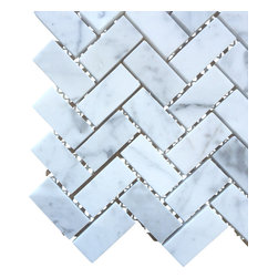All Marble Tiles - Bianco Carrara 3/4 x 2 Honed Marble Herringbone Mosaic Tile - Finish: Honed