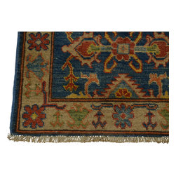 2'x3' Hand Knotted 100 Percent Wool Denim Blue Kazakh Oriental Rug Sh18498 - Our Tribal & Geometric hand knotted rug collection, consists of classic rugs woven with geometric patterns based on traditional tribal motifs. You will find Kazak rugs and flat-woven Kilims with centuries-old classic Turkish, Persian, Caucasian and Armenian patterns. The collection also includes the antique, finely-woven Serapi Heriz, the Mamluk Afghan, and the traditional village Persian rug.