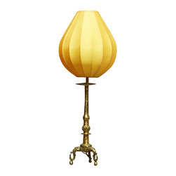 China Furniture and Arts - Tang Brass Table Lantern with Silk Shade - Inspired by the ancient Chinese Tang style, this table lantern is made using hand-forged brass. The yellow silk shade emits a mellow shimmering light that provides you with a unique artistic experience. Requires one 45 watt max bulb (not included).
