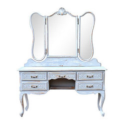 "Consigned Antique French Louis XV Vanity w/ Mirror Pinted - Vintage French Louis XV-style vanity/dressing table with triple mirror, two side mirrors are swinging. Hand-carved decorations include shells, scrolls, and cabriole legs. Bronze handles on five drawers are original. To table top, 29""H. Opening for stool, 15.2""W x 22.5""H."