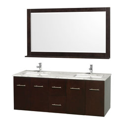 """Wyndham Collection - Wyndham Collection 60"""" Centra Espresso Double Vanity w/ Square Porcelain Sink - Simplicity and elegance combine in the perfect lines of the Centra vanity by the Wyndham Collection. If cutting-edge contemporary design is your style then the Centra vanity is for you - modern, chic and built to last a lifetime. Available with green glass, pure white man-made stone, ivory marble or white carrera marble counters, and featuring soft close door hinges and drawer glides, you'll never hear a noisy door again! The Centra comes with porcelain sinks and matching mirrors. Meticulously finished with brushed chrome hardware, the attention to detail on this beautiful vanity is second to none."""