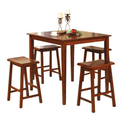 "Coaster - 5 Pc Set (Dark Walnut) By Coaster - You will receive a total of 1 counter height dining table and 4 counter height stools. Table: 36""W x 36""D x 36""H Stools: 17""W x 13 1/2""D x 24""H Finish: Dark Walnut Material: Wood, Veneer 5pc Counter Height Dining Table & Stools Set Dark Walnut Finish Clean line and contemporary style. This dining set creates a scenery that will make dining a pleasure for everyone. Set is a great addition to match the beauty of your kitchen and dining room decor. Also available in black and two tone. Assemble required."