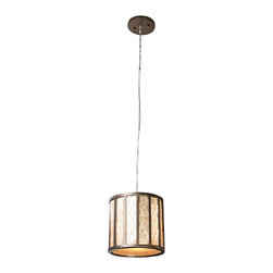 """Varaluz - Traditional Varaluz Affinity Natural Capiz Shell Mini Pendant Light - Each sustainable Capiz shell that makes up the shade of this incredible mini pendant chandelier has a low VOC champagne finish and natural color variations. The reclaimed bronze frame is finished in """"new bronze"""" and plays beautifully against the glistening texture of the Capiz shells. When lit the Capiz """"towers"""" evoke a skyline set in a glowing sky. A wonderful environmentally sound design from Varaluz. Sustainable Capiz shell with low VOC champagne finish. Reclaimed bronze frame. Acrylic diffuser. Takes one 100 watt bulb (not included). 8 1/4"""" high. 8"""" wide. Comes with 10' of cable.  Sustainable Capiz shell with low VOC champagne finish.   Reclaimed bronze frame.    Acrylic diffuser.   Takes one 100 watt bulb (not included).   8 1/4"""" high.   8"""" wide.   Comes with 10' of cable."""