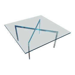 Pre-owned Mies van der Rohe Barcelona Style Cocktail Table - This is in the style of a Mid-Century Modern Design by Ludwig Mies van der Rohe. Barcelona style table with a glass top made in U.S.A.; base made in Italy.