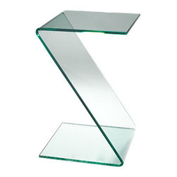 Z-Shaped Glass Table - Minimalism taken to the maximum, and who else but the French would have gotten the ball rolling with this 20th century design that is totally eye-catching, in an unobtrusive way.