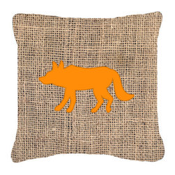 Caroline's Treasures - Wolf Burlap and Orange Fabric Decorative Pillow Bb1123 - Indoor or Outdoor Pillow from heavyweight Canvas. Has the feel of Sunbrella Fabric. 18 inch x 18 inch 100% Polyester Fabric pillow Sham with pillow form. This pillow is made from our new canvas type fabric can be used Indoor or outdoor. Fade resistant, stain resistant and Machine washable..