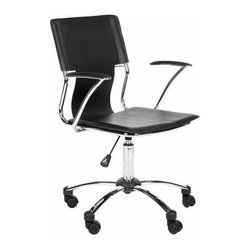 Safavieh Kyler Desk Chair - Black - Approach your work from all the right angles with the sleek, angular design of the Safavieh Kyler Desk Chair - Black. You'll love the post-modern presence of this desk chair, which features a cutout back and black PVC faux leather upholstery. A high-shine metal frame adds a little extra zing, and features like adjustable height and rubber wheels make this chair as pragmatic as it is posh.About SafaviehSafavieh is a leading manufacturer and importer of fine rugs. Established in 1914 in the capital of Persian weaving masters, the company today brings three generations of knowledge and experience to its award-winning collections. In the United States since 1978, Safavieh has been a pioneer in the creation of high-quality hand-made rugs, a trend that revolutionized the rug business in America. Its collections range from the finest antique and historical reproductions to the most fashion-forward contemporary and designer rugs.