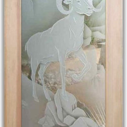 """Interior Glass Doors - Big Horn Sheep - CUSTOMIZE YOUR INTERIOR GLASS DOOR!  Interior glass doors or glass door inserts.  .Block the view, but brighten the look with a beautiful interior glass door featuring a custom frosted glass design by Sans Soucie!  ship for just $99 to most states, $159 to some East coast regions, custom packed and fully insured with a 1-4 day transit time.  Available any size, as interior door glass insert only or pre-installed in an interior door frame, with 8 wood types available.  ETA will vary 3-8 weeks depending on glass & door type........  Select from dozens of sandblast etched obscure glass designs!  Sans Soucie creates their interior glass door designs thru sandblasting the glass in different ways which create not only different levels of privacy, but different levels in price.  Bathroom doors, laundry room doors and glass pantry doors with frosted glass designs by Sans Soucie become the conversation piece of any room.   Choose from the highest quality and largest selection of frosted decorative glass interior doors available anywhere!   The """"same design, done different"""" - with no limit to design, there's something for every decor, regardless of style.  Inside our fun, easy to use online Glass and Door Designer at sanssoucie.com, you'll get instant pricing on everything as YOU customize your door and the glass, just the way YOU want it, to compliment and coordinate with your decor.   When you're all finished designing, you can place your order right there online!  Glass and doors ship worldwide, custom packed in-house, fully insured via UPS Freight.   Glass is sandblast frosted or etched and bathroom door designs are available in 3 effects:   Solid frost, 2D surface etched or 3D carved. Visit our site to learn more!"""