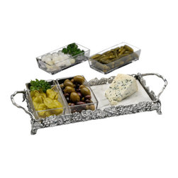 Arthur Court - Grape Marble Modular Tray - Your culinary masterpieces deserve the very best. And Arthur Court Designs are famous for their exquisite workmanship. The removable glass inserts, marble slab and polished aluminum base will showcase whatever delights you serve. Can be refrigerated to keep your cold appetizers cold.