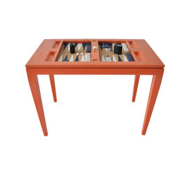 Backgammon Game Table - Knockout Orange with Navy and White Board - The show-stopper, the conversation piece, the ultimate home accessory. To us, a backgammon table is like a fireplace - you've got to have one! Before or after dinner, with your kids, and with your friends - backgammon is a game of strategy and luck that is as ancient as time itself. in our own quest to find a backgammon table, we were met with few choices. Therefore we have created this game table for enthusiasts, professionals, and novices alike, but with added oomph. Yes! The oomph backgammon table is available in all 16 of our high gloss lacquer colors and we love them all! We customize each board with matching hand-painted cork and matching men. The backgammon table is a true treat for the home and makes a wonderful wedding gift or surprise for the gaming enthusiast who has just about everything.