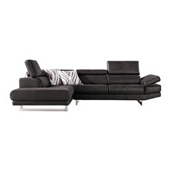 Zuri Furniture - Paulo Suede Sectional Sofa - Left Chaise - The simple design and plush details of the Paulo contemporary sectional sofa make it the central focus of your upscale modern living space. Exquisite in every element, The stylish and functional Paulo is finished with sumptuous chocolate micro-suede easy-maintenance fabric and adjustable headrests.