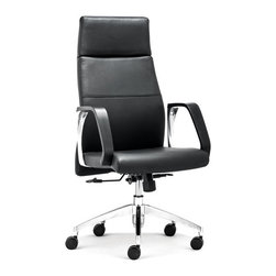 ZUO - Conductor High Back Office Chair - Very office chic, the Conductor Office Chair makes the day go faster. Plush leatherette on a rolling steel frame, the back is perfectly angled for comfort. Comes in high or low, sold separately.