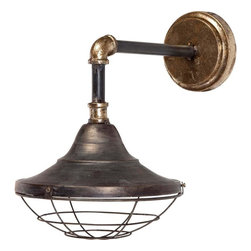 Candelabra Home - Candelabra Home Agadir Sconce - Natural and metallic finish, industrial metal sconce with caged bulb protector.