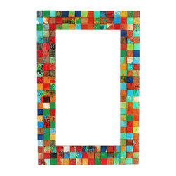 EcoChic Lifestyles - Apocalypso Reclaimed Wood Mirror - Kaleidoscopic tiles of reclaimed wood are captured in mid-twirl around the Apocalypso Mirror. The squares are carefully hand-cut and arranged just so to create a luscious mosaic effect. Hang in your hallway for a last look and a shot of color before you're out the door.