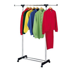Richards Homewares - Extendable Garment Rack Chrome - This handy garment rack is vertically and horizontally adjustable. Perfect for laundry rooms, guest rooms and the dorm.