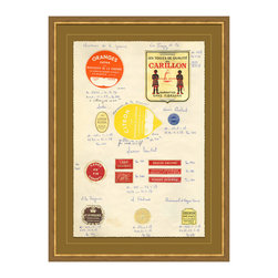 Antique Apothocary Labels, Paris - B Framed Giclee - An intriguing reproduction of antique apothecary labels from France delightfully arranged, documented and suited for any room you wish to display them in. Various shapes and sizes of labels lend themselves to a feeling of simpler times, when medicines and remedies were hand concocted, packaged and labeled.