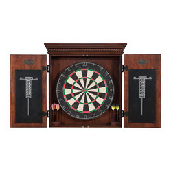 Athos Dart Board - Add some sophistication to your game room with this dapper dartboard. Complete with professional board, two weighted dart sets and scoring system, this pretty wooden piece hits the bullseye for fun — and fabulous style.