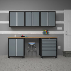 None - Pro Series Grey 6-Piece Cabinetry Set - This Pro Series Cabinet Set is an ideal storage solution for any workshop or garage. With its modular design, the Pro Series 6-piece set keeps your garage organized and spotless.