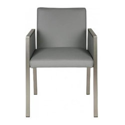 White Line Imports - Dining Arm Chair in Gray - Wipe clean with a dry cloth. Leatherette upholstery. Made from stainless steel. Brushed nickel finish. No assembly required. 22 in. W x 24 in. D x 31 in. H (28 lbs.)