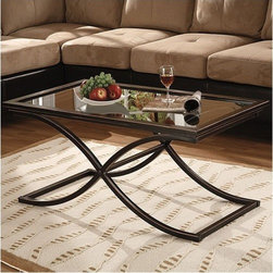 Wildon Home � - Enola Coffee Table - With its distressed finish and sleek modern design, the Vogue Coffee Table will bring a distinct style to your home. The metal frame is finished in black with the edges rubbed away to show the copper finish below. The base of this sturdy coffee table consists of a curved ''X'' which supports the solid top frame with inlaid glass. Features: -Sleek, modern curved design.-1/2'' Thick glass top.-Solid metal construction with a solid top frame with inlaid glass.-Distressed black finish with copper accents.-Enola collection.-Collection: Enola.-Distressed: Yes.Dimensions: -Overall dimensions: 20'' H x 42'' W x 24'' D.-Overall Product Weight: 51.5 lbs.