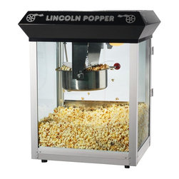 Great Northern - Black Lincoln Eight Ounce Antique Popcorn Machine-Bar Style - Tempered Glass. Old maid drawer. Makes roughly 3 gallons of popcorn per batch; cleans up with water. Heavy-duty powder coated steel and stainless steel construction. Reject kernel tray, kernel/oil scoop and popcorn scoop included. Switches include: spot light warmer, stirrer and pot heater. 860 watts instead of 640; heated warming deck. 110V / 860Watts. 8 Ounce Kettle. Warming Deck to keep the popcorn warm and fresh. 3 Switch Design. Thicker Glass: -- 40% thicker than our competition. Premium Grade Steel --30% thicker than our competition. Richer Color -- Premium paint and enhanced colors.. Top Machine is 25 in. H x 21' L x 18 in. D (45 lbs)These commercial quality machines feature stainless steel food-zones, easy cleaning stainless steel kettles, heated warming decks, old-maid drawers (for un-popped kernels), tempered glass side and back panels and an industry leading 8 ounce kettle operating on 860 watts. With the antique style design, you will be reminiscing about your early days at the ball game, carnival, or the movie theater. We have combined the best of both worlds--not only are you getting today's technology, you get an eclectic design with all the conveniences of the modern era. A couple of conveniences worthy of note include our exclusive old-maid drawer and tempered side panels. Our machine was designed with small perforations in the bottom stainless tray to allow the un-popped kernels to fall into the drawer. Simply rake the popped corn with a scoop and the old-maids disappear. We have sold thousands of these units to churches, schools, businesses, day care centers, varsity/PTA clubs, and more. Of course, our number 1 customer is the homeowner looking to add a theatrical effect to their home theater. Safer Packing -- double wall stock and extra packing to ensure a safe delivery. Robust Design/Craftsmanship backed up by a 3 year warranty on the machine and a 30 day limited warranty on all consumable parts including kettles and/or light bulbs