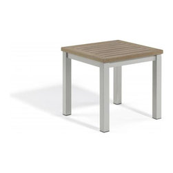 Oxford Garden - Travira End Table, Tekwood Vintage - The Travira End Table creates a nice balcony or porch setting with the Travira Armchair, or pool setting with the Travira Beach Chair or Chaise Lounge. Table top, available in Teak, Tekwood (Natural or Vintage) or Alstone, complements the bold gray of the powder coated aluminum.