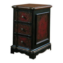 """Hooker Furniture - Hooker Furniture Three Drawer Black & Red Accent Chest - The Seven Seas Three Drawer Black & Red Accent Chest is handpainted and features three drawers. It is finished on all sides. Hardwoods with Oak Veneers. Dimensions: 14""""W x 18.75""""D x 25""""H."""