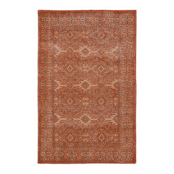 Kaleen Rugs - Restoration Paprika Rectangular: 5 Ft. 6 In. x 8 Ft. 6 In. Rug - - The Restoration collection puts the finishing touches on a classic reproduction for some of the most unique rugs in the world. Hand-knotted in India of 100% wool, each rug is intentionally distressed by hand-shearing for authenticity, over-dyed colors for beautiful style, and complete with the smallest little details for the perfect replica of a vintage antique rug. A 100% natural green product and completely free of any latex materials  - Classic Reproduction  - Hand-Knotted Antique Replica  - Pile Height: 0.12-Inch  - Square Feet: 46.75  - Cleaning/Care: Spot clean as needed or for best results please contact a local area rug cleaning professional  - Detailed Rug Colors: Pumpkin and Apricot Kaleen Rugs - RES04-53-5686