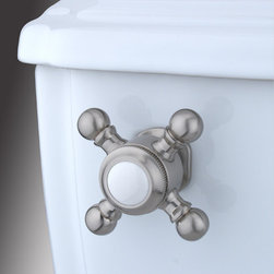 Kingston Brass - Toilet Tank Lever - The Buckingham Cross Tank Lever features a unique four-handled knob built for an easy turn-to-flush functioning.; Made from satin nickel; Solid cast brass construction; Coordinates perfectly with Buckingham collection; Buckingham design; Fit most water closet mechanisms; Material: Brass; Finish: Satin Nickel; Collection: Buckingham