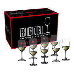 Riedel - Riedel Vinum Viognier/Chardonnay Pay 6 Get 8 Glasses - Set of 8 - This Riedel Vinum Chablis/Chardonnay stemware set is an amazing value at 8 glasses for the price of 6. The glasses in this set of eight were specifically designed to bring balance and harmony into medium bodied, crisp white wines such as chardonnay, Semillon and Chablis. The design of the bowl directs the wine to the area of the palate that will highlight the rich fruit while balancing its moderate acidity.
