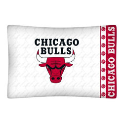 Sports Coverage - NBA Chicago Bulls Microfiber Pillow Case - Officially licensed NBA Chicago Bulls Microfiber coordinating pillow case to match Comforters, Pillow sham, Bedskirts and Draperies. The Pillowcase only has a white-on-white print and the officially licensed team name and logo printed in team colors. Made from 92 gsm microfiber for extra stability and soothing texture and is 100% Polyester. Wrinkle resistant and stain-resistant. Get your NBA Pillow Case Today.   Features:  -  92 gsm Microfiber,   - 100% Polyester,    - Machine wash in cold water with light colors,    -  Use gentle cycle and no bleach,   -  Tumble-dry,   - Do not iron,   - Pillow case Standard - 21 x 30,