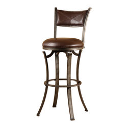 Hillsdale Furniture - Swivel Stool (26 in. Counter Height) - Choose Size: 26 in. Counter HeightSturdy and stylish.Signature flat legs.Distressed pewter finish.Angular design. 17 in. W x 19 in. D x 38 in. H (18 lbs.)Sturdy and stylish, the Drummond Stool has plenty of presence. With its signature flat legs, distressed pewter finish and angular design, the Drummond is at once comfortable and statement making. The 360 degree swivel seat is covered in a complementary textured neutral vinyl. The stool is