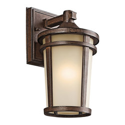 Kichler 1-Light Outdoor Fixture - Brown Stone Exterior - One Light Outdoor Fixture. The simple transitional style of this 1 light fluorescent wall lantern from the Atwood family is perfect for today`s traditional architecture. The subtle tone of the brownstone finish and light umber seedy glass coordinate beautifully. Everything about this tapered round lantern from its cast aluminum rings to its stepped canopy make it an ideal complement to your home. Width: 6 inches, height: 11. 5 inches. Uses 1 13 w bulb. Rated for wet locations. Meets energy star, dark sky, and title 24 requirements. Bulb included.