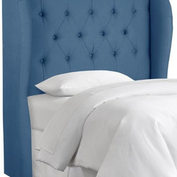 Home Decorators Collection - Custom Channing Upholstered Headboard, Denim Blue - This fabulous wingback headboard comes in several sizes and colors, including denim and pale pink.