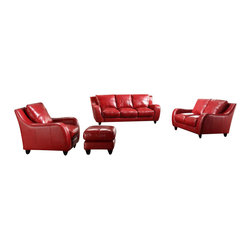 VIG Furniture - Bremen Full Red Top Grain Italian Leather 3-Piece Sofa Set - Rich, red leather, sumptuous curves and plush seats give this sofa set a look of opulence that will translate beautifully into your space. The set includes a sofa, a love seat and a chair and all are made from solid wood, which ensures they will last for years. The styling is so classic, you'll be able to keep them for as long, updating your artwork, throw pillows and accessories as often as the mood strikes you.