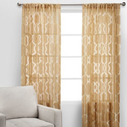 Z Gallerie - Channel Panels - Our Channel Drapery Panels are sheer delight. The gold-on-gold pattern brings a subtle style to classic, semi-sheer panels. Available in three colors - White, Grey, or Gold. Each panel sold separately.